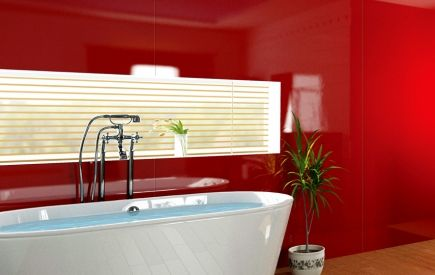 Bathroom with a red acrylic sheet splashback